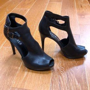 Ralph Lauren Black Leather Buckled Heels 7.5